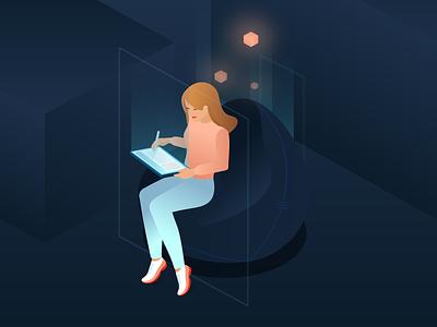 Dive into the digital world process tablet digital ui illustration pixels isometric girl drawing illustration