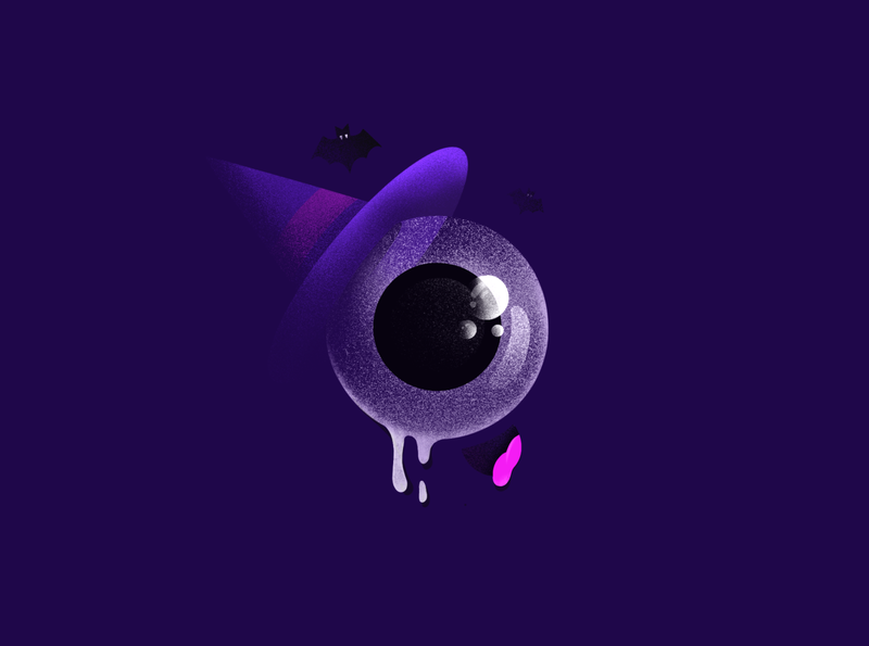 Happy Spooky Week zombie halloween design witch purple mist bat spooky halloween
