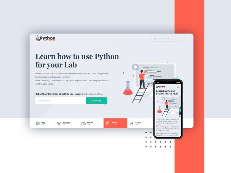 Python Home Page subscribe python lab color palette coding tutorials blog homepage ui illustration