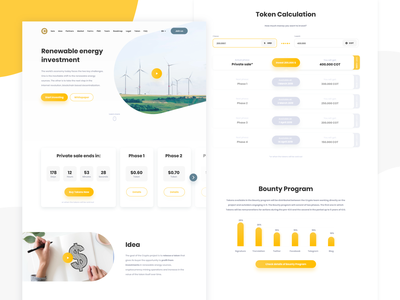 Renewable Energy ICO Landing Page xd adobe web design landing page landing user experience user inteface ui ux cryptocurrency crypto ico