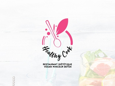 Healthy Cook Logo wordmark typography script logotype identity branding logo design work pro professional art