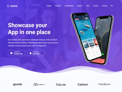 Naxos - App Landing Page Template mobile app landing page mobile ios creative app landing page athenastudio app store app landing page app landing app android ajax
