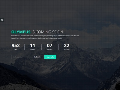 Olympus - Responsive Coming Soon Template slideshow image retina php subscribe ajax countdown athenastudio theme comingsoon responsive olympus