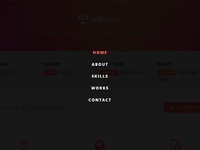 AirMenu - Responsive Fullscreen Navigation vertical seo responsive navigation navbar menu horizontal hamburger fullscreen blocks athenastudio airmenu