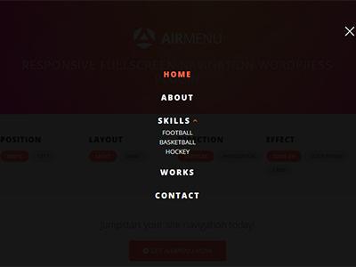 AirMenu - Responsive Fullscreen Navigation WordPress Plugin wordpress vertical plugin navigation navbar menu horizontal hamburger fullscreen blocks athenastudio airmenu