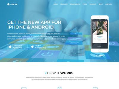 AppMe - App Landing Page Template mobile ios athenastudio appme store showcase page landing app android ajax