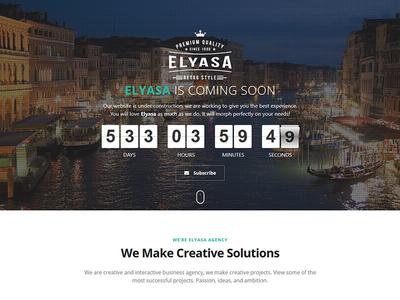 Elyasa - Responsive Coming Soon WordPress Plugin video subscribe slide plugin mailchimp image googlemaps countdown contact comingsoon athenastudio ajax