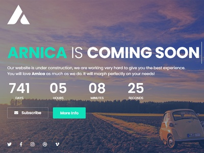 Arnica - Creative Coming Soon Template video under construction subscribe slideshow mailchimp image countdown coming soon bootstrap athenastudio arnica ajax