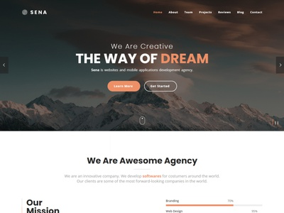 Sena - Responsive One Page Parallax Template video template sticky slider sena retina responsive portfolio parallax onepage linea fontawesome contact bootstrap athenastudio