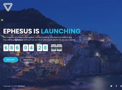 Ephesus - Creative Coming Soon Template video subscribe slideshow mailchimp image ephesus countdown contact comingsoon bootstrap athenastudio ajax