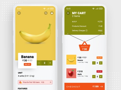 Grocery App Product Details and Cart Screen UI