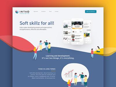 Intao Landingpage design web minimal flat illustration branding website landing page ui
