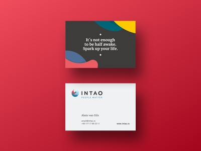 Intao Businesscards design vector colorful logo business card branding