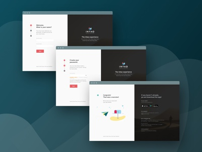 Intao - register flow ui design illustration minimal website landing page registration form