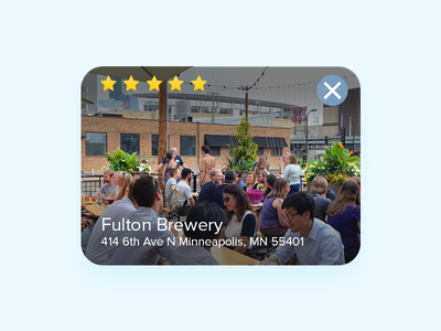 Restaurant Card UI location address stars ui card