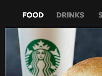 Starbucks App UI navigation menu border photoshop freight sans starbucks