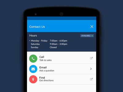 Contact Us mobile fontawesome android material design