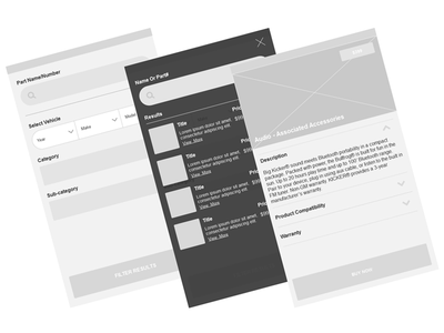 Mobile Search Results page detail product thumbnail filter ui axure wireframe