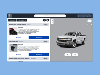 Auto Accessory Visualizer search filter card flat material webapp ui auto