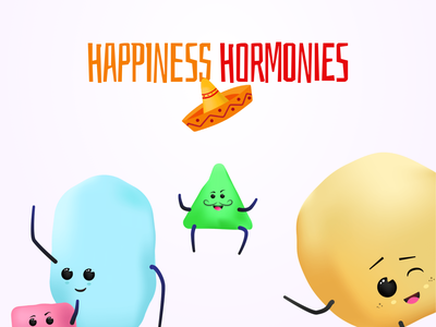 Happiness Homies Hormonies vector science happiness story branding character design campaign illustration character