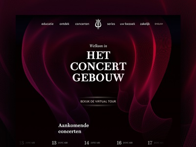 The Royal Concertgebouw - Royal edition experience brand web uiux royal lines warm classical music concert culture