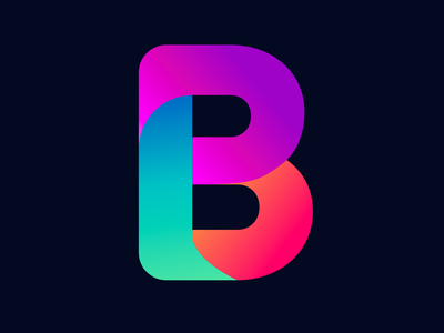 Gradient logo B colorful visual typography monogram illustration stationary identity design brand branding