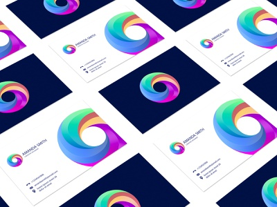 Omega communication business card colorful typography monogram illustration stationary logo identity design brand branding