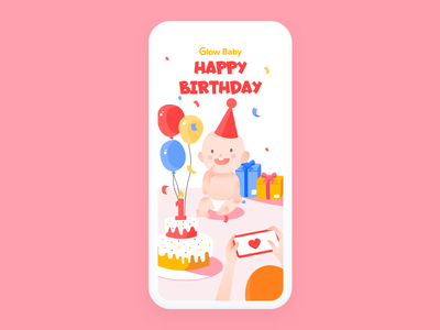 Birth card ui illustration charactor design birthcard baby happy present birthday