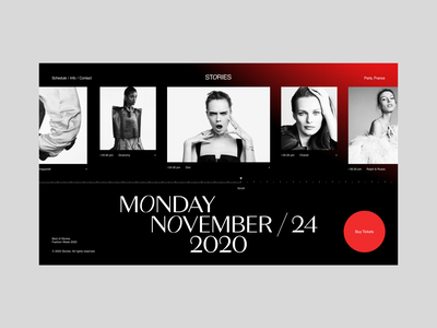 Stories white black composition slider ux ui interface minimalism webdesign red grid typography fashion