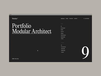 Modular Architect ux ui black animation fashion interaction minimalism grid typography