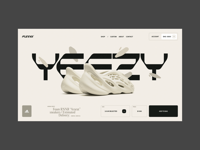 Runner concept yeezy product page e-comerce runner run adidas fashion minimalism typography grid ui