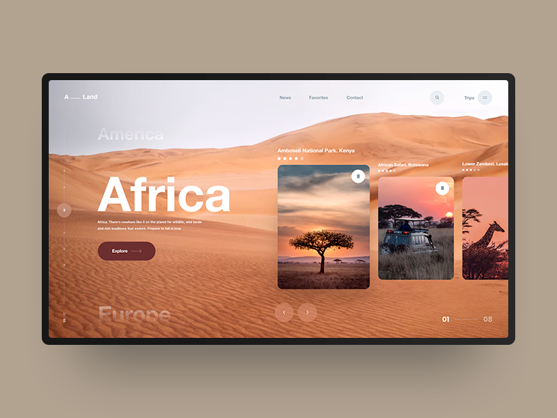 Africa obys africa travel photography helvetica ui ux interface