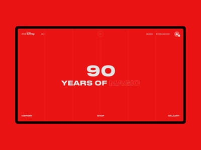 90 Years Of Magic muzli photo webdeisgn red e-commerce interaction mickey mouse black minimal typography grid obys fashion ux ui