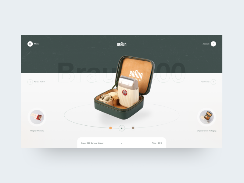 Braun Product Page muzli braun 3d 360 slider product page product card e-commerce typography interface photo grid obys webdesign ux ui