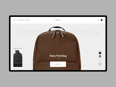 Rains backpack promo animaiton e-commerce minimalism web helvetica concept interaction typography grid photo fashion obys webdesign ux ui