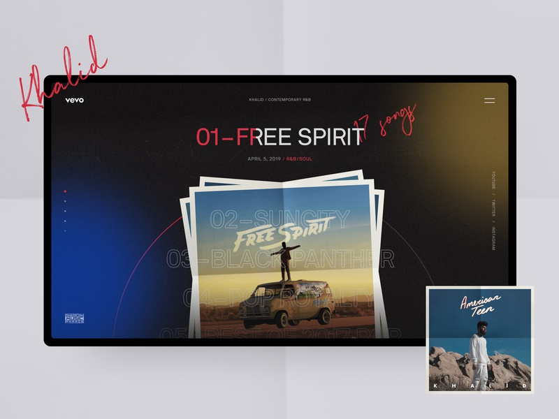 Vevo, Khalid interaction minimalism art redesign red music black concept interface typography grid fashion photo obys webdesign ux ui