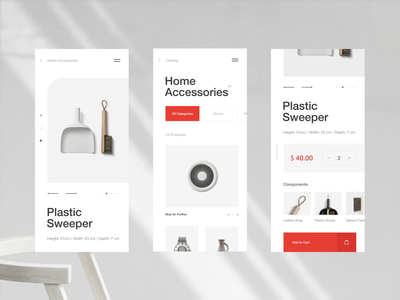 Home Accessories online store product card card mobile app mobile app catalog furniture animation motion minimalism interaction fashion photo typography grid obys webdesign ux ui