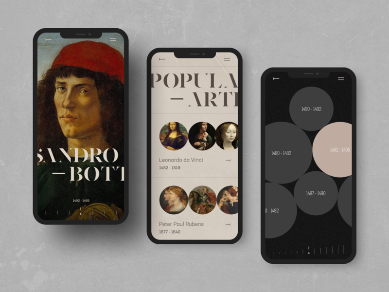 Sandro Botticelli photo interface interaction grid obys fashion typogaphy font minimalism art mobile museum ux ui webdesig