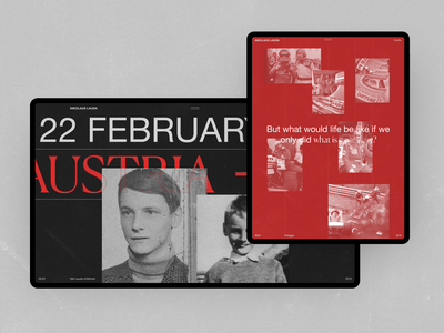 Niki Lauda outline black interaction minimalism race fashion typography grid obys webdesign ux ui