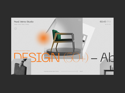 Vetrov Studio home page industrial design horizontal scroll concept minimalism fashion grid webdesign ux ui typography