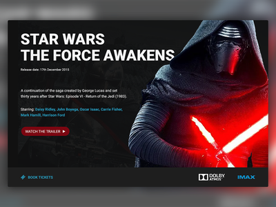 Movie Card web design ui design movie ui movies movie card the force awakens star wars