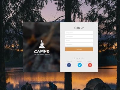 Campr Sign Up branding outdoors camping form sign up form ui ui design