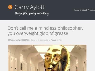 Personal blog - top section blog design wordpress typography star wars