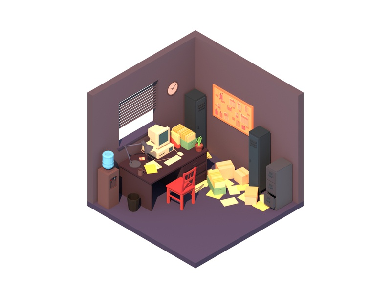 Office isometric room office minimalist blender low poly illustration 3d lowpoly