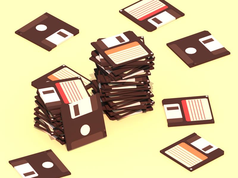 Floppy Disks floppy disk retro minimalist blender low poly 3d illustration lowpoly
