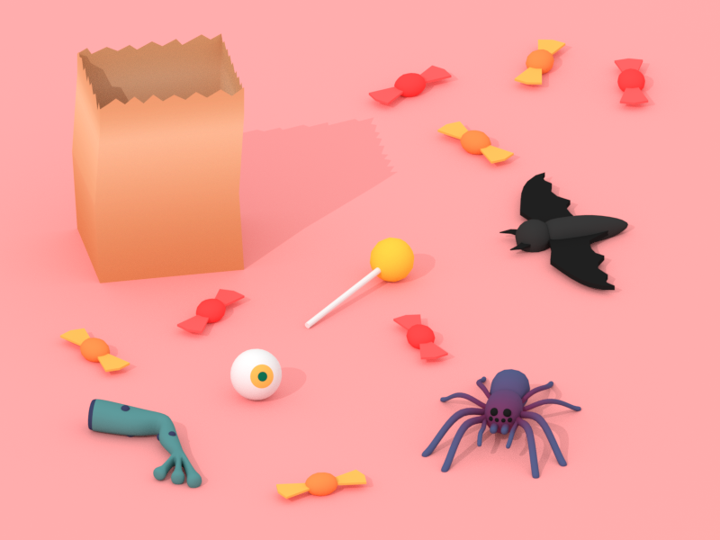 Trick Or Treat bat spider october halloween candy minimalist blender low poly illustration 3d lowpoly