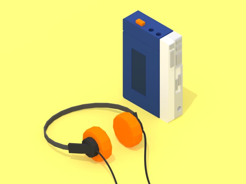 Sony Walkman cassette cassette tape cassette player sonywalkman sony walkman walkman sony retro minimalist blender low poly illustration 3d lowpoly