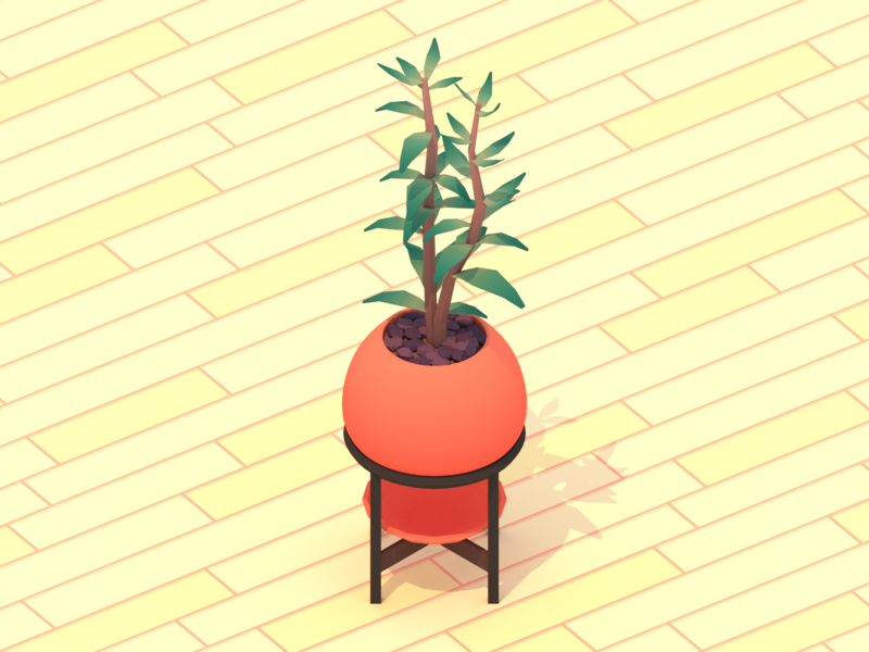 Potted Plant blender3d simple nature potted plants potted plant plants plant minimalist blender low poly illustration 3d lowpoly