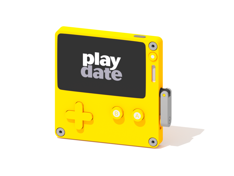 Playdate gaming console minimalist blender low poly illustration 3d lowpoly