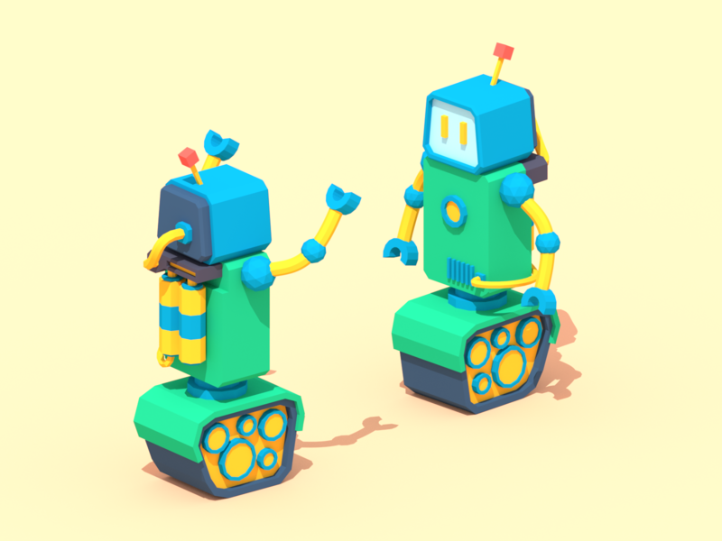 Trouble at Work robot robots blender low poly illustration 3d lowpoly